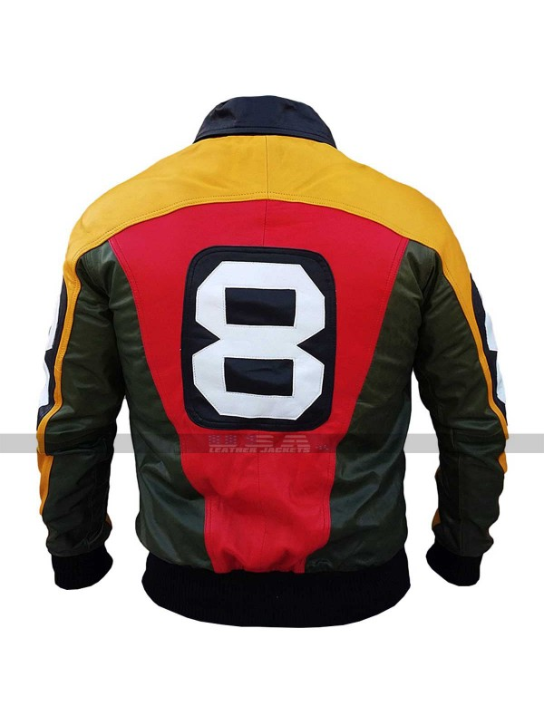 8 Ball Seinfeld David Puddy Bomber Leather Jacket