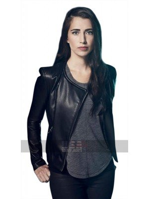 Dilan Gwyn Beyond TV Series (Willa) Round Collar Black Leather Jacket