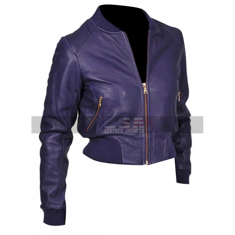 Doctor Who Rose Tyler Purple Bomber Slim Fit Leather Jacket