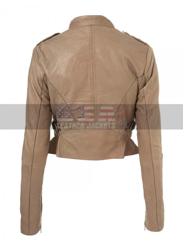 Doctor Who Amy Pond Slim Fit Motorcycle Beige Leather Jacket