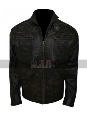 Christopher Egan Dominion Motorcycle Black Leather Jacket