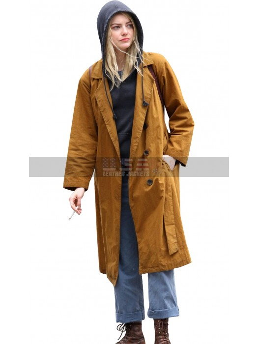 Emma Stone Maniac Annie Landsberg Brown Trench Cotton Coat