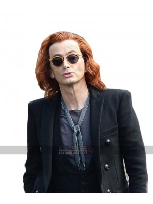 David Tennant Good Omens Crowley Black Wool Jacket