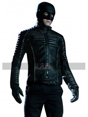 Gotham Bruce Wayne Quilted Shoulders Black Leather Jacket