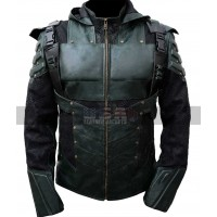 Green Arrow S5 Oliver Queen Costume Hooded Leather Jacket