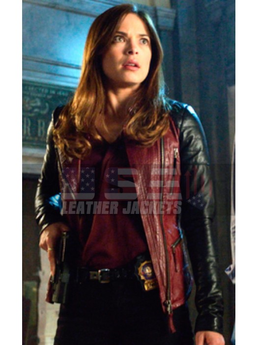 Beauty and the Beast Catherine Chandler Red Biker Leather Jacket