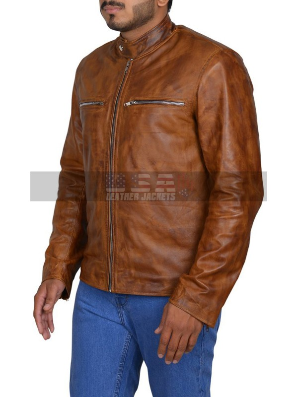 Angus MacGyver Lucas Till Brown Leather Jacket