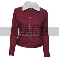 Nancy Wheeler Stranger Things Fur Shearling Maroon Cotton Jacket