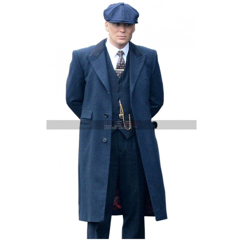 Men's Peaky Blinders Season 5 Thomas Shelby Blue Wool Trench Coat