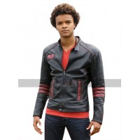 Power Rangers RPM Eka Darville Red Stripes Black Leather Jacket