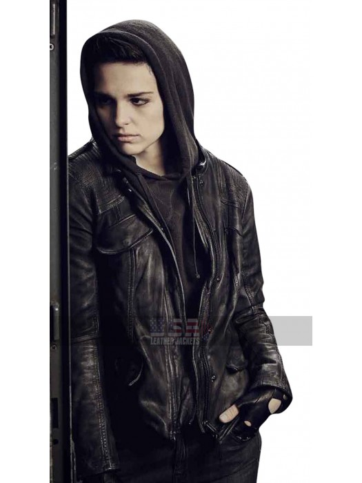 Counterpart Baldwin (Sara Serraiocco) Black Hoodie Leather Jacket