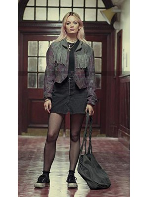 Sex Education Emma Mackey Fringe Suede Leather Jacket