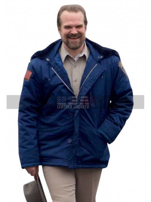 David Harbour Stranger Things Blue Fur Hoodie Parachute Jacket
