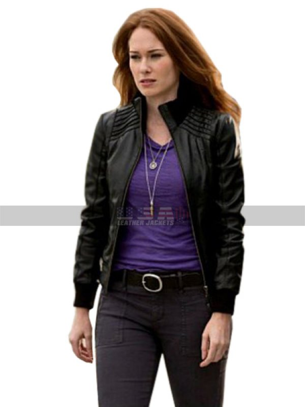 The Flash Plastique Kelly Frye Black Bomber Leather Jacket