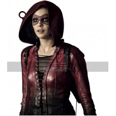 Arrow Speedy Thea Queen Red Costume Hooded Leather Jacket