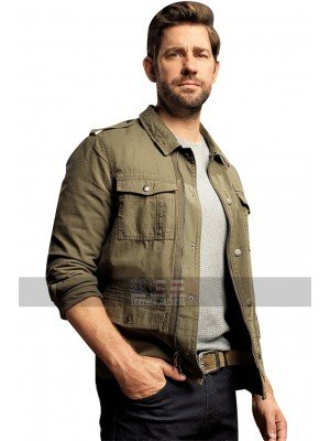 Mens John Krasinski Tom Clancy's Jack Ryan Shirt Collar Cotton Jacket