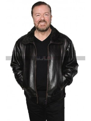 After Life Ricky Gervais Black Leather Jacket | Tony Fur Collar Jacket