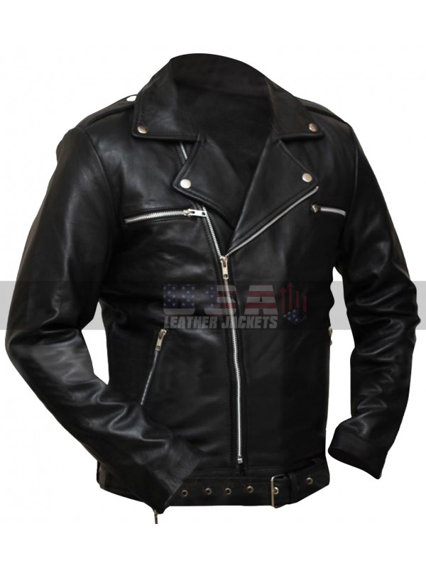 Walking Dead S6 Negan Black Biker Costume Leather Jacket
