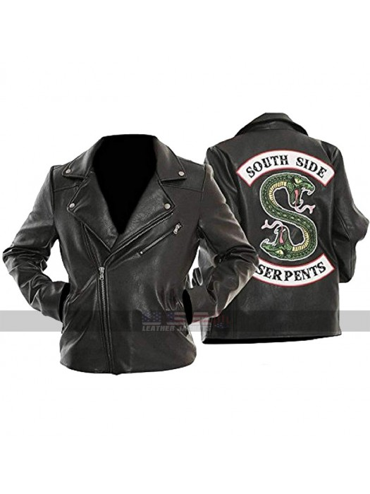 Womens Jughead Biker Black Leather Jacket Riverdale Southside Serpents Outerwear