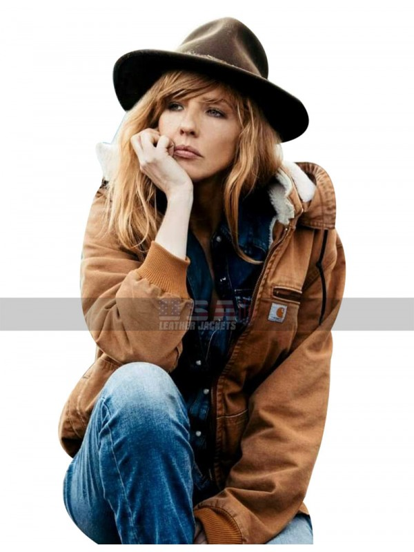 Yellowstone Costumes Hood + Fur Collar Kelly Reilly Brown Cotton Bomber Jacket