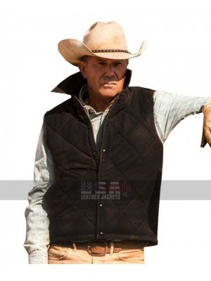 Yellowstone Kevin Costner (John Dutton) Quilted Satin Vest