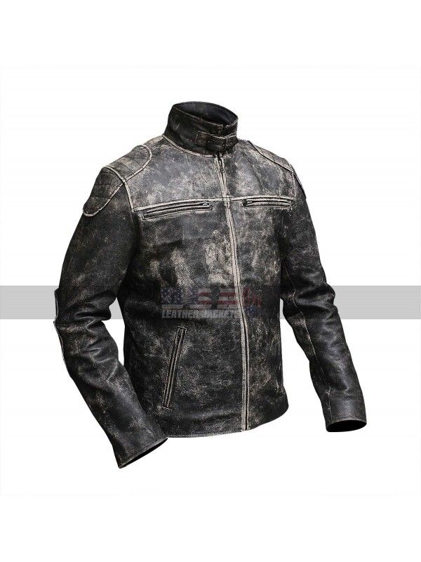 Cafe Racer Antique Style Vintage Biker Distressed Black Leather Jacket