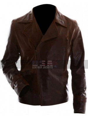 Captain America Steve Rogers Vintage Brown Biker Leather Jacket