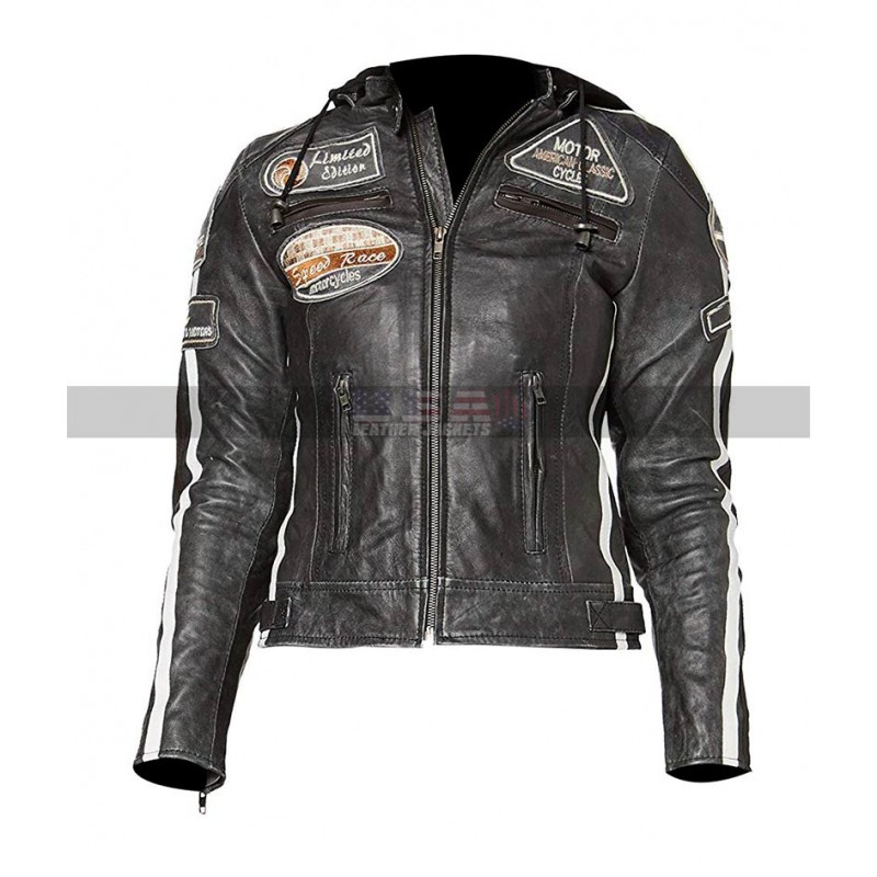 Women's Retro 2 Motorcycle Distressed Gray Leather Jacket