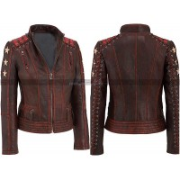 Slim Fit Womens Cafe Racer Star Biker Distressed Motorcycle Leather Jacket