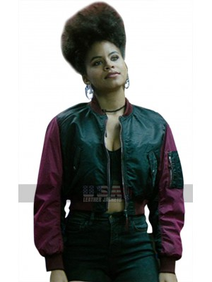 Deadpool 2 Domino Short Body Satin Bomber Jacket