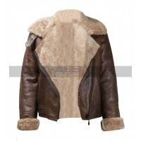 Ladies World War II Aviator Fur Shearling Women's B3 Ginger Brown Leather Jacket