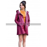 Selena Gomez A Rainy Day In New York Shannon Burgundy Parachute Raincoat
