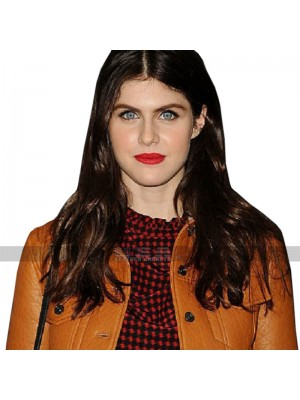 Alexandra Daddario Tan Brown Leather Jacket
