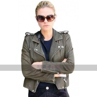 Women's Biker Costumes Anna Paquin Olive Green Short Leather Jacket
