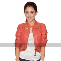 Ariana Grande Clothing Costumes Studded Metal Short Body Reddish Pink Leather Jacket
