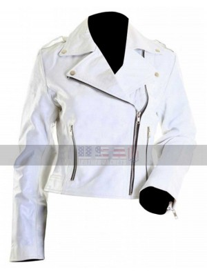 Brando White Ladies Rider Biker Leather Jacket