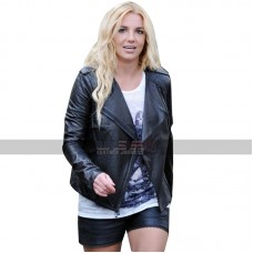 Britney Spears Biker Quilted Style Black Leather Jacket For Women's