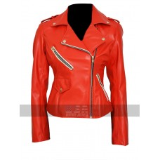 Charlotte McKinney Slim Fit Brando Biker Red Leather Jacket