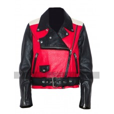 Acne Studios Demi Lovato Red Biker Leather Jacket