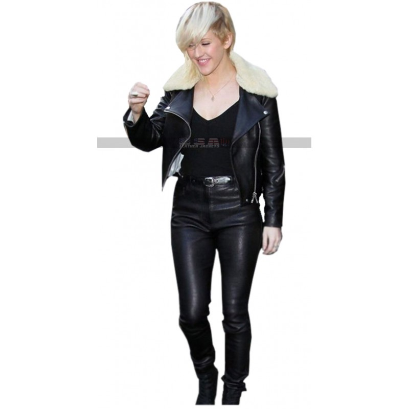 Ellie Goulding Fur Collar Motorcycle Black Leather Jacket