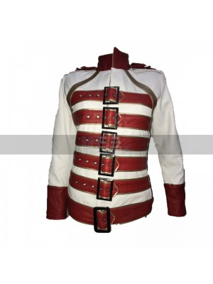 Freddie Mercury Wembley Queen Tribute Belted Red White Women Jacket