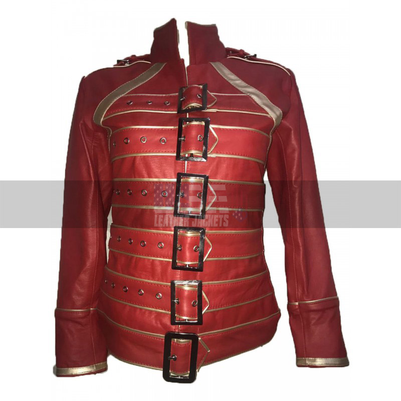 Freddie Mercury Wembley Queen Tribute Red Belted Women Jacket