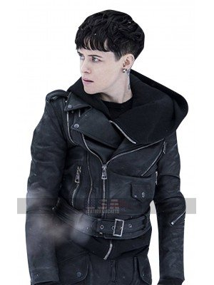 The Girl in the Spiders Web Claire Foy Belted Biker Leather Jacket
