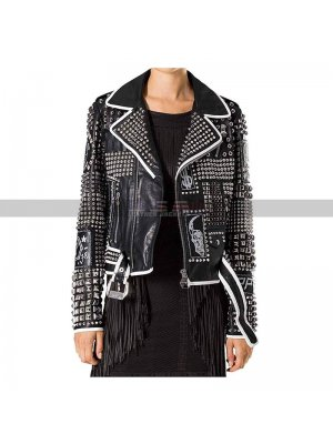 Ladies Punk Rock Style Women Gothic Black Studded Leather Jacket