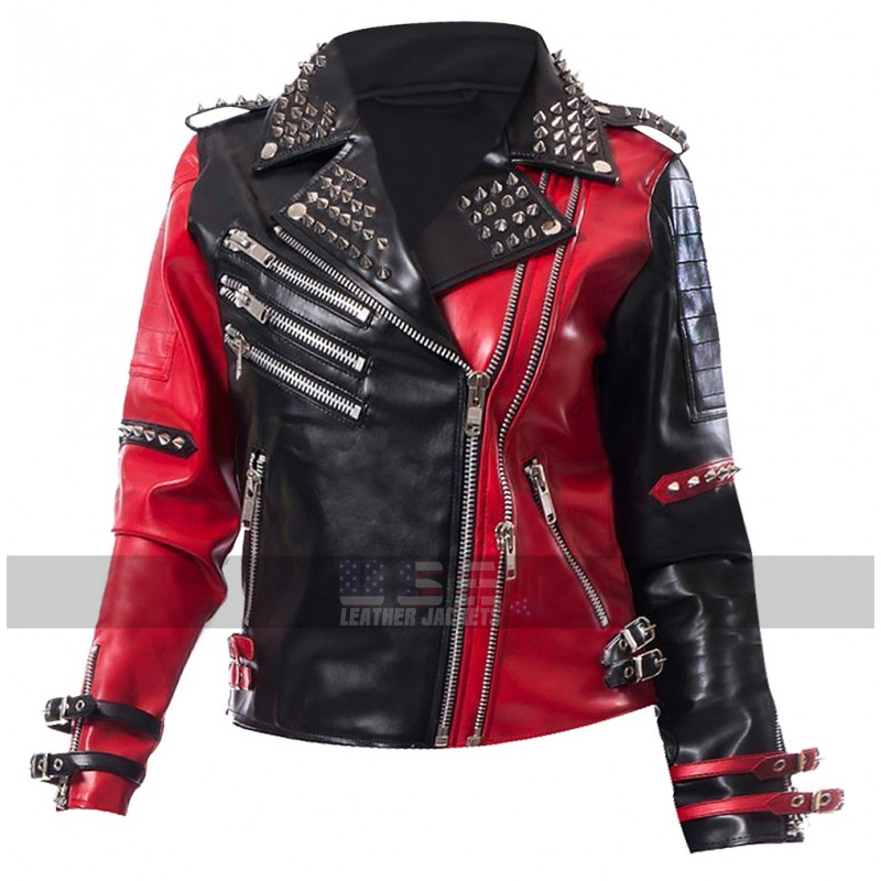 Heartless Asylum Harley Quinn Studded Red and Black Costume Biker Leather Jacket
