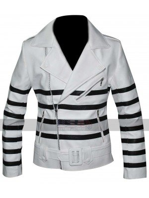 Katie Holmes Black Stripes Belted Biker White Leather Jacket