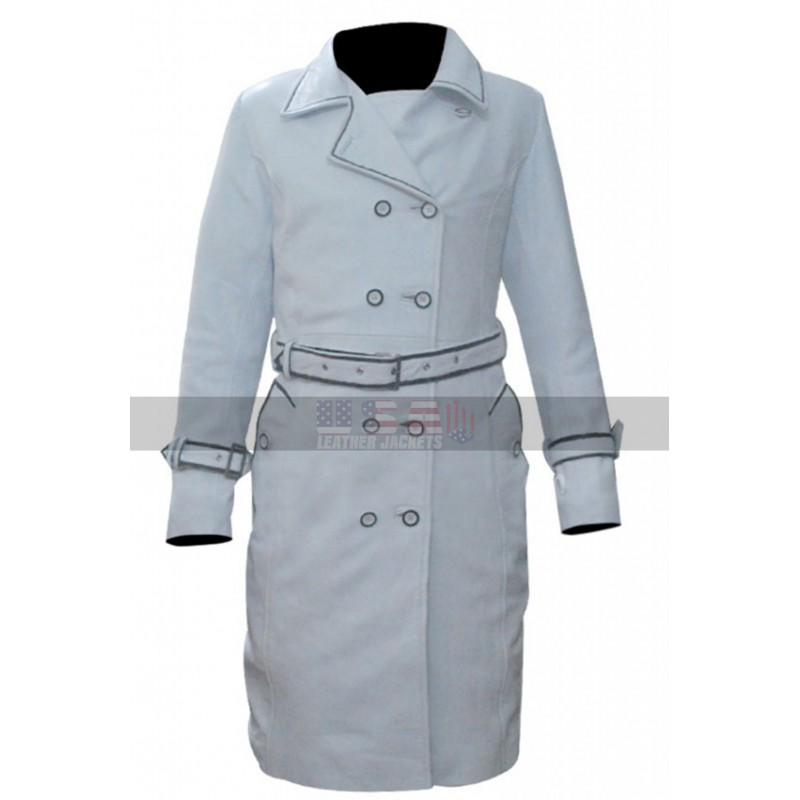 Daryl Hannah (Elle Driver) Kill Bill White Leather Trench Coat