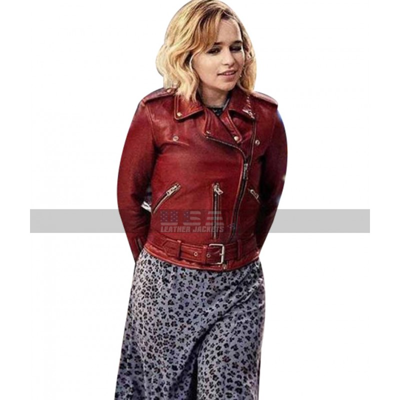 2019 Movie Last Christmas Emilia Clarke Red Leather Jacket For Women's