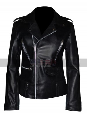 Mariah Carey Black Motorcycle Leather Jacket