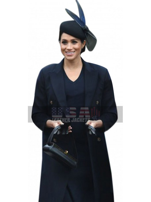 Princess Meghan Markle Duchess of Sussex Blue Cotton Trench Coat